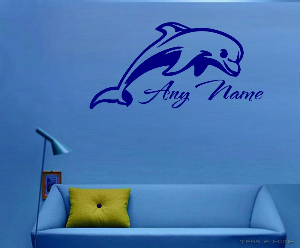 Personalised dolphin vinyl wall sticker any name art decal personalised dolphin vinyl wall sticker any name art decal customized gift 30cmx60cm in wall stickers from home garden on aliexpress alibaba group amipublicfo Image collections