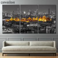 3 Piece Canvas Art HD Print Palace City Building Roof Painting Paintings For Living Room Wall