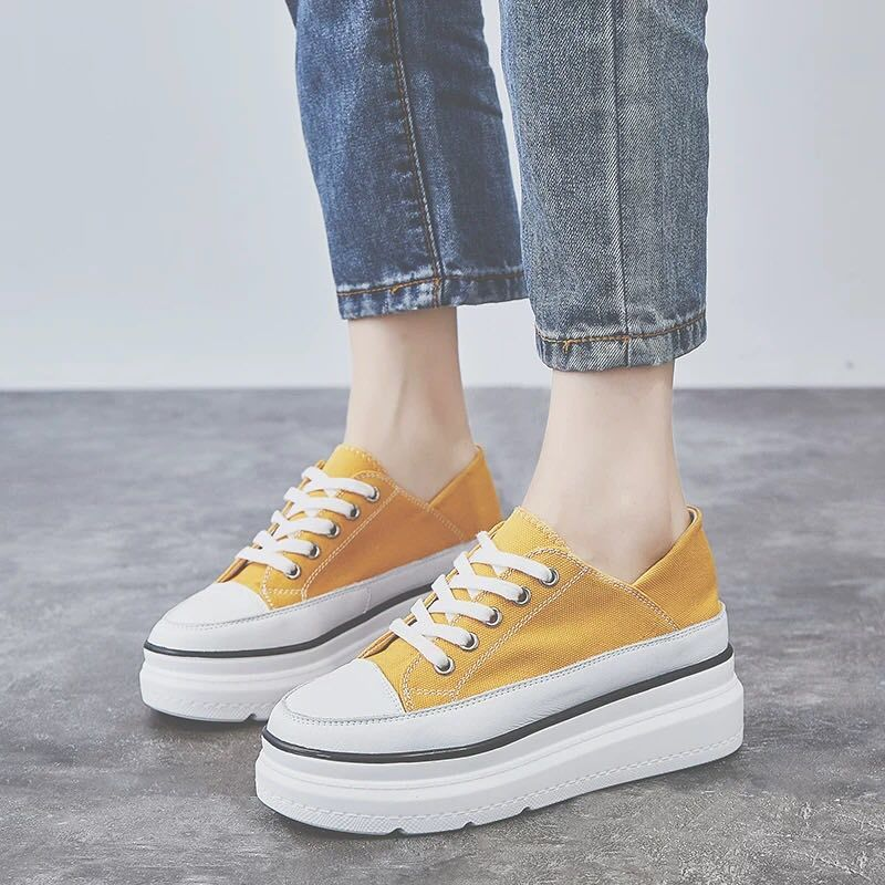 Fujin Sneakers Women Flats Yellow Shoes Dropshipping Platform Lace Up Woman Casual Shoes Thick Heels Spring Autumn Female Shoes in Women 39 s Flats from Shoes