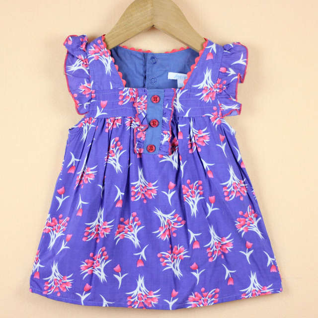 4c37b955e7164 Girls Flower Pattern Flounce T-shirt Kids Girl Fashion Cotton Summer  Clothing Children Cute Blue Floral Top Drop Free Shipping
