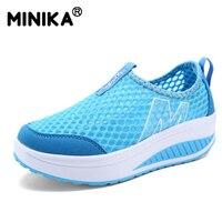 ارتفاع متزايد الصيف minika شبكة الهواء الأحذية النسائية الأحذية عارضة الأزياء المشي أحذية النساء أسافين الأحذية سوينغ تنفس