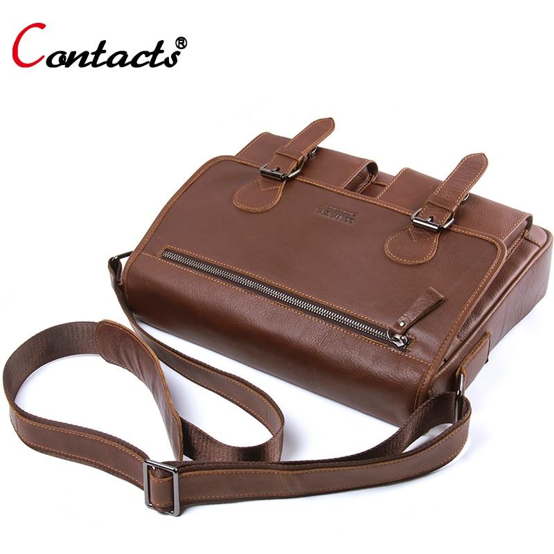 Contact's brand genuine leather bag men shoulder bag vintage briefcase male messenger bag men leather handbag crossbody bag tote