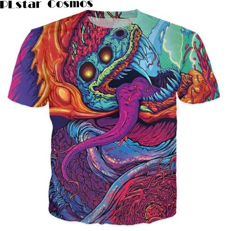 PLstar Cosmos divat ruházat Hyper beast póló pszichedelikus felsők Női Férfi Alkalmi póló 3D Harajuku póló Outfits Tee