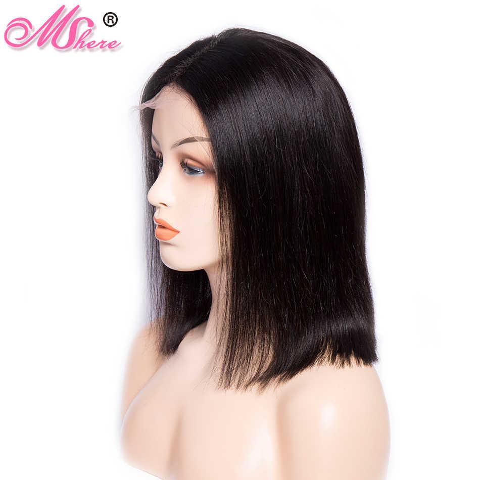 Kısa Bob Dantel Ön Peruk Bebek Saç Ile 8-14 Inç Düz Hint Remy Saç Peruk Tüm Kadınlar Için ağartılmış Knot ile Mshere Saç