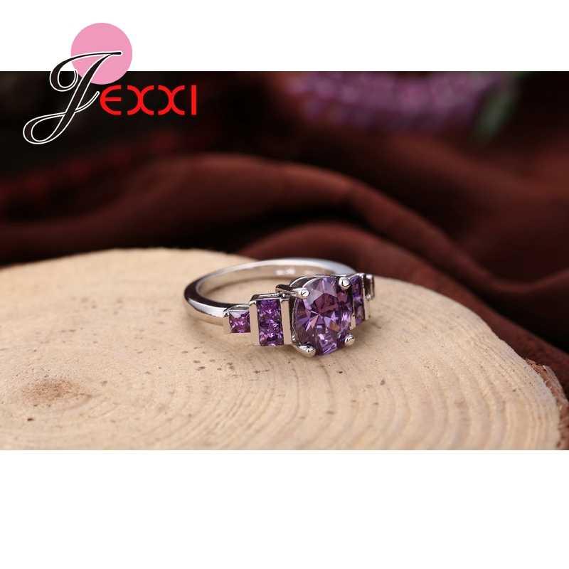Jemin Luxury Desgin สีม่วง CZ 925 แหวนเงินสเตอร์ลิงสำหรับสุภาพสตรีแหวนหมั้นหญิง Bijoux