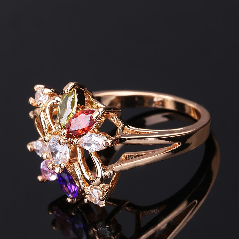 CWEEL Weeding Engagement Rings For Women Austrian Imitation Crystal Zircon Ring Rose Gold Color India Dubai Big Water Drop Rings (16)