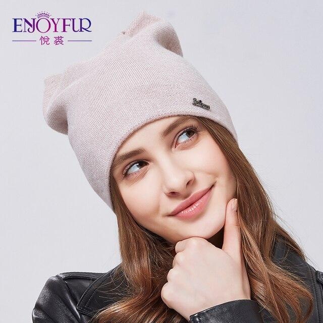 3ae56292530 ENJOYFUR Spring Autumn Hats For Women Knitted Wool Caps Cartoon Hat Female  Cute Cat Hat Women Winter Hat