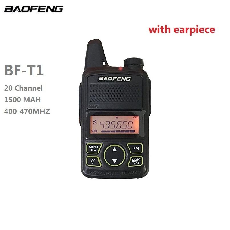 100% BAOFENG BF-T1 Mini Walkie Talkie UHF CB Radio Portable De Poche Ham Radio Communicador FM Émetteur-Récepteur Mobile + écouteur