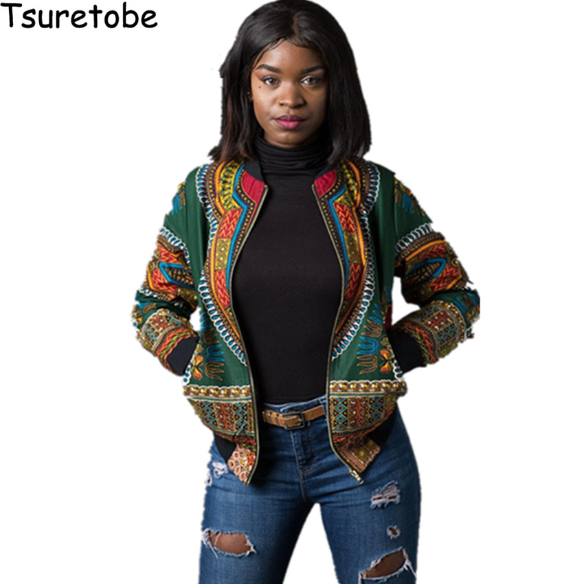 Tsuretobe Dashiki Bomber   Jacket   Women Autumn outwear African Print   Jackets   Female Veste Vintage Casual   Basic     Jackets   Coats