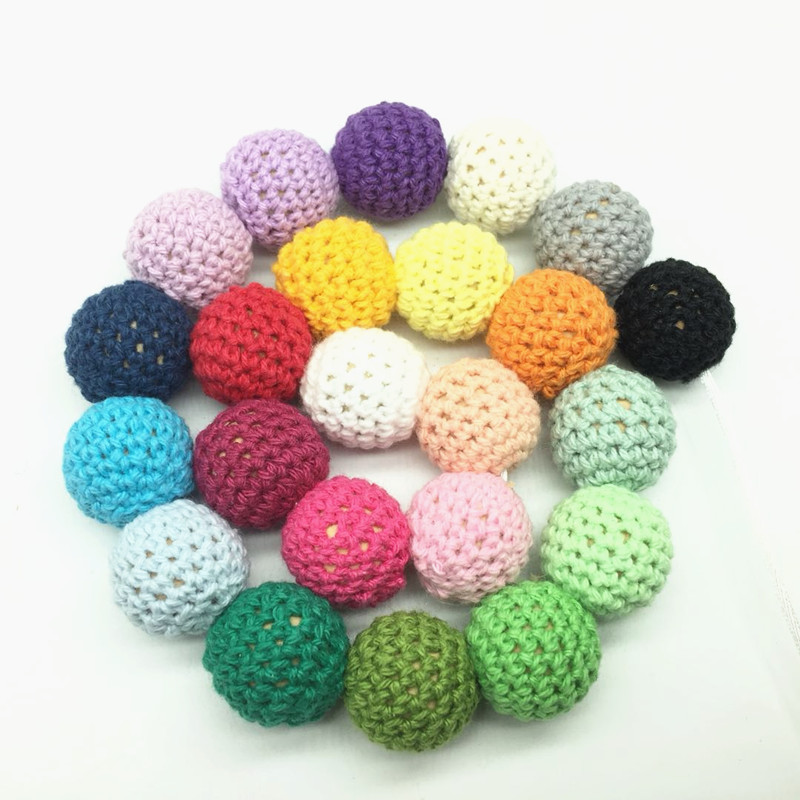 10Pcs Baby Natural Wooden Crochet Beads Chewable Tooth Nursing Necklace Teething