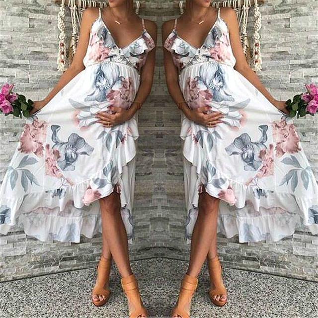 1d474d84a27 Floral Maternity Dresses Sleeveless Boho Dress for Pregnant Women Party  Wedding Pregnancy Dresses Photography Free Shiping