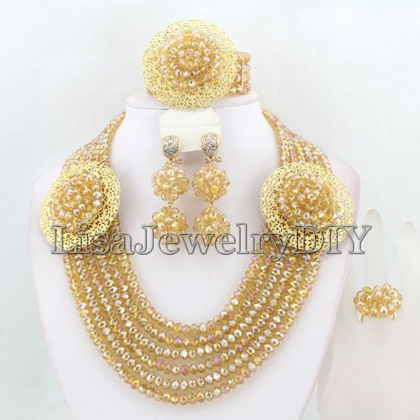 Charming African Beads Jewelry Set Nigerian Wedding African Crystal Beads Jewelry Set     HD2014