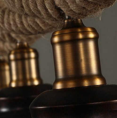 Пеньковая веревка Эдисона Лофт стиль Промышленные винтажные подвесные светильники с 3 светильниками для бара столовой подвесной светильник Lampara