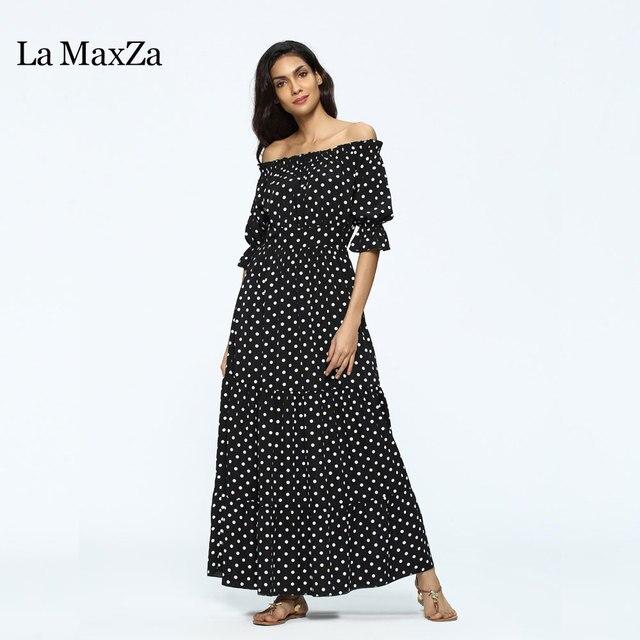 f2a4c58d510 La MaxZa 2018 Women sexy Dot printing Long Dress Large size off shoulder  Slash neck Maxi Dresses clothes