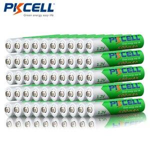 Image 1 - Promoção pkcell 50 pçs/lote 1.2 v 600 mah aaa nimh bateria recarregável ni mh baixo auto descarregado pré carregado baterias