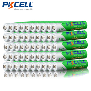 Promotion- PKCELL 50pcs/lot 1.2V 600mAh AAA NIMH Rechargeable Battery NI-MH Low Self-discharged Pre-charged Batteries