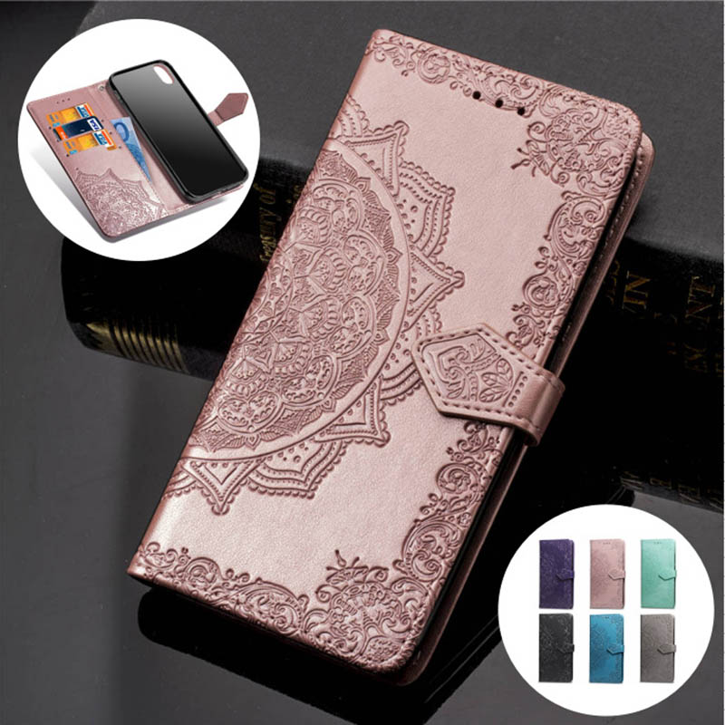 3D Floral Embossed Patterned Leather <font><b>Case</b></font> For Iphone XS Max 7 8 Plus Solid <font><b>Card</b></font> Slot Flip Cover For <font><b>Iphone6</b></font> 6s X10 Wallet <font><b>Case</b></font> image