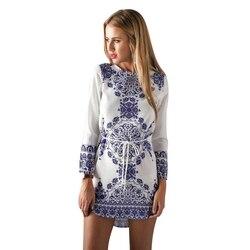2018 New Vintage Ethnic  Blue And White Porcelain Dresses Sashe O-neck Long-Sleeved Floral Dress Female Vestidos 1
