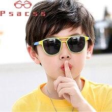 Psacss NEW Fashion Polarized Kids Sunglasses Girls Boys Vintage Brand Silicone Frame Childrens Round Sun Glasses Gafas Infantil