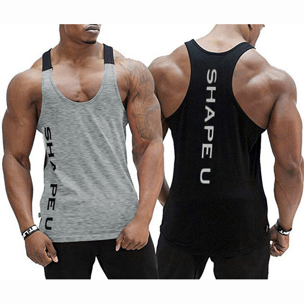 Men's Sleeveless gym   tank     top   Tee Shirt Bodybuilding Sport Fitness Vest bodybuilding shirt NEW men gym clothing bodybuilding