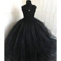 Darkness Black Puffy Girl Tutu Dress Baby Girl Princess Birthday Evening Carnival Party Tulle Tutu Dresses