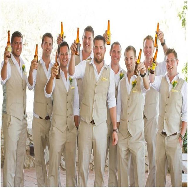 Autumn Spring Groom Wear Beach Wedding Mens Suits Waistcoat And Pants Groomsmen Suit 2017