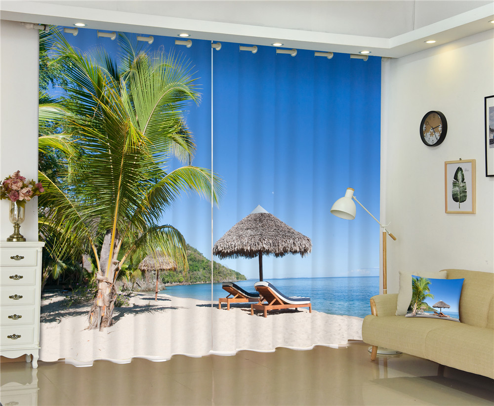 Curtains Sea Beach Luxury 3D Blackout Curtains for Living Room Bedroom Window Curtains Rideaux Drapes Cortinas Customized size