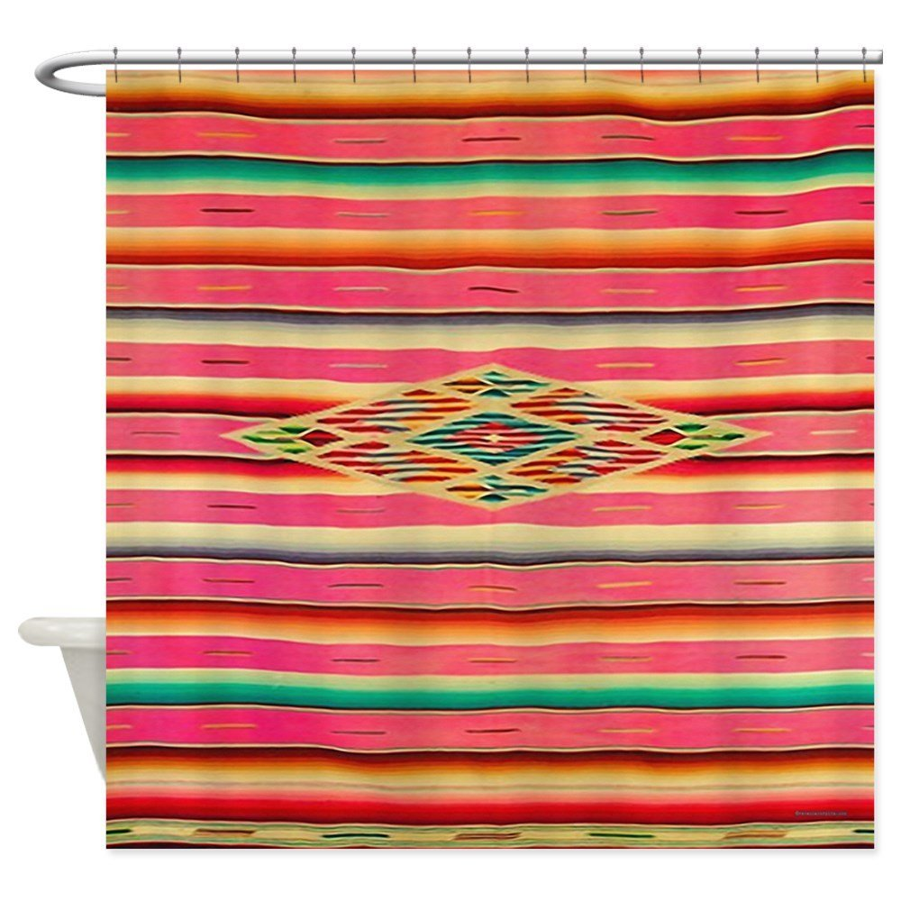 Vintage Pink Mexican Serape - Decorative Fabric Shower Curtain (69x70)