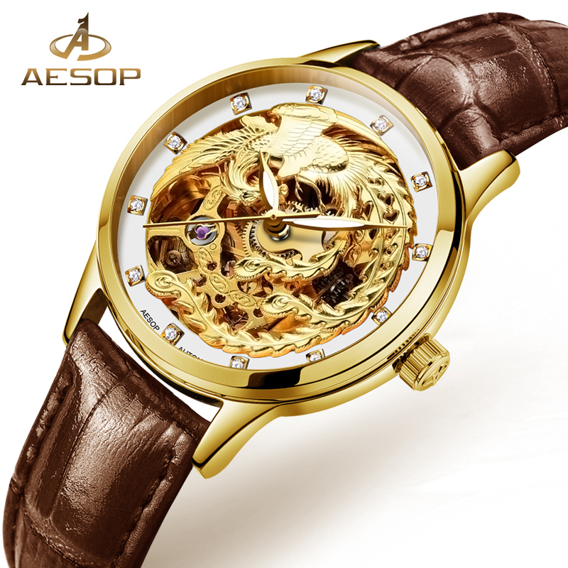 AESOP Fashion Luxury Watch Women Automatic Mechanical Gold Wristwatch Novelties leather Ladies watches Clock relogio Feminino hvenshi automatic mechanical watch women rose gold watch top luxury watch ladies wristwatch fashion casual watches