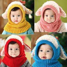 2016 Korean puppy style boys knitted hats winter fur baby girls Conjoined cap can as shawl Age for 6 months-4 Years Old MZ2217
