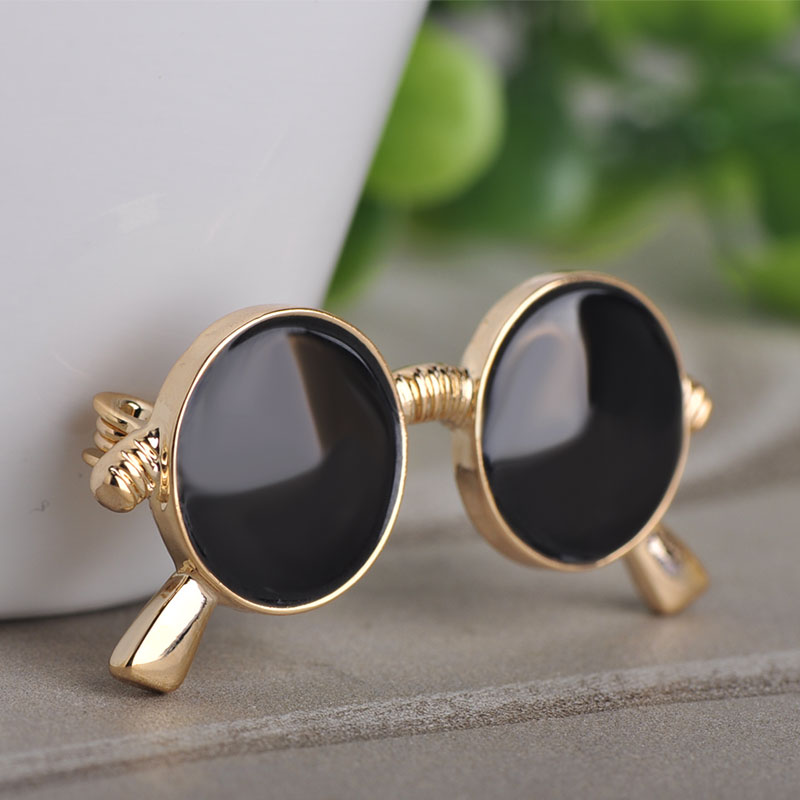 aec58b06d9d Blucome Fashion Black Glasses Shape Brooch Women Men Child Clothing Daily  Suit Accessories Bag Hat Jewelry Pins Scarf Buckles