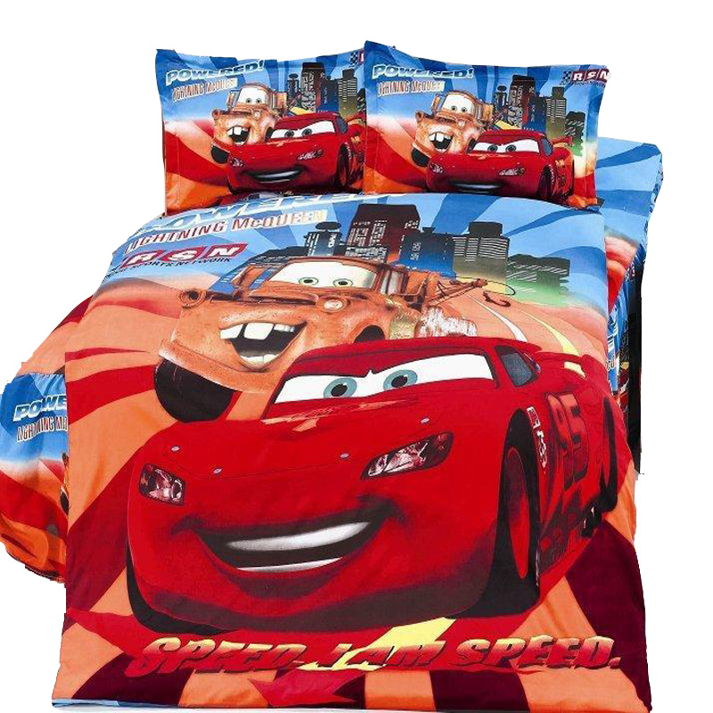 Lightning mc queen print bedding set cartoon cars pattern duvet cover single twin 2/3/4pcs boys child home textile 12 style gift