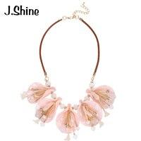 JShine Romantic Elegant Acrylic Flowers Choker Necklace Imitation Leather Chain Pendant Necklace Women Party Fashion Jewelry