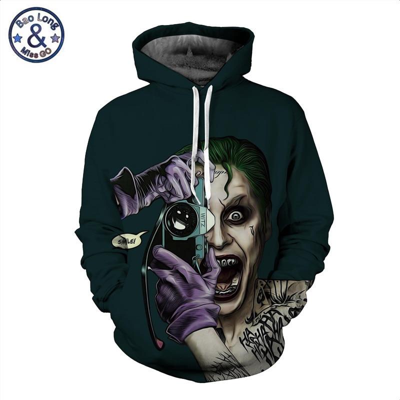 Men 3D Hoodie Sweatshirt The Joker Suicide Squad Hoodies Boy Spring Jacket Coat Hooded Sweatshirts Male Pullover Tracksuits