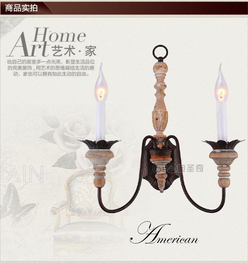 ФОТО American country retro hand carved wooden staircase aisle lamp wall lamp double creative