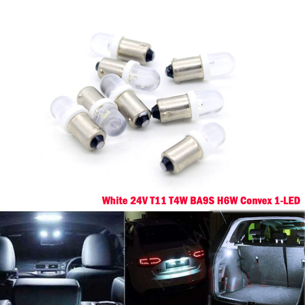Dongzhen 10X 24V BA9s T11 T4W H6W W6W Convex 1-LED Car License Plate Lights Dashboard Light Blubs Auto White 10 x t11 ba9s t4w h6w 233 xenon car led bulb automotive lamp interior light 12v 5050 5smd dashboard white blue red yellow green