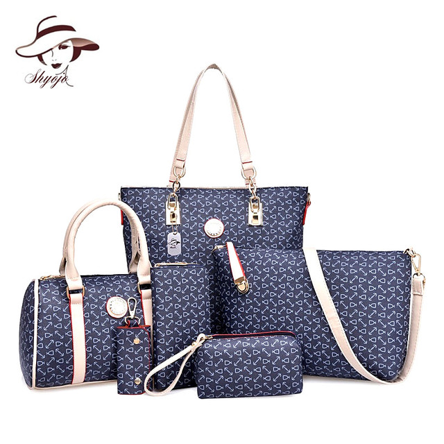 5eafc195591fe Luxury 6 Piece Set Women Bags Composite Bags Printing Sweet Ladies  Messenger Bag Shoulder Tote Purse