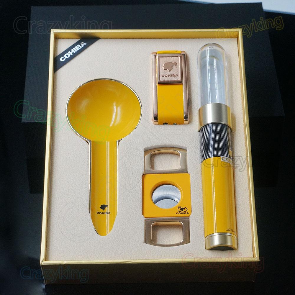COHIBA Yellow Alloy Cigar Lighter Cutter Ashtray Tube With Humidifier SetCOHIBA Yellow Alloy Cigar Lighter Cutter Ashtray Tube With Humidifier Set