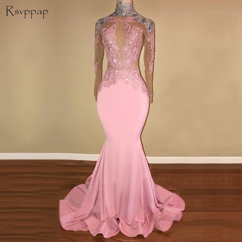 Long Pink   Prom     Dresses   2019 High Neck Long Sleeves Sheer Nude Applique Open Back African Mermaid   Prom     Dress