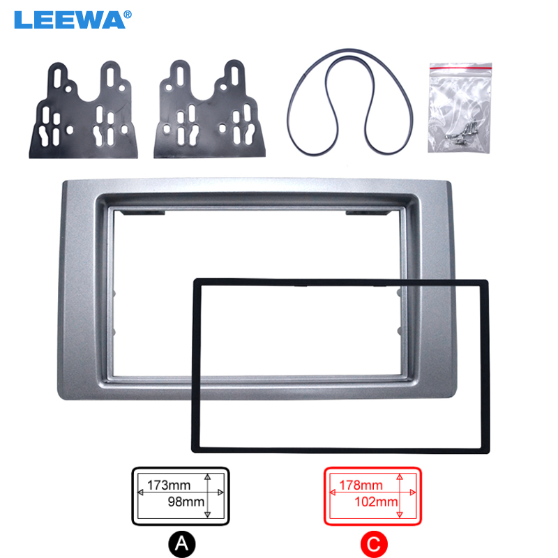LEEWA Car 2DIN CD DVD Radio Fascia Frame for Iveco 2009+ Dash Mount Kit Adapter Trim Dashboard Panel #5265 new car radio fascia for nissans frontier xterra 2009 2012 facia frame panel dash mount kit adapter for suzuki equator 2009 2012