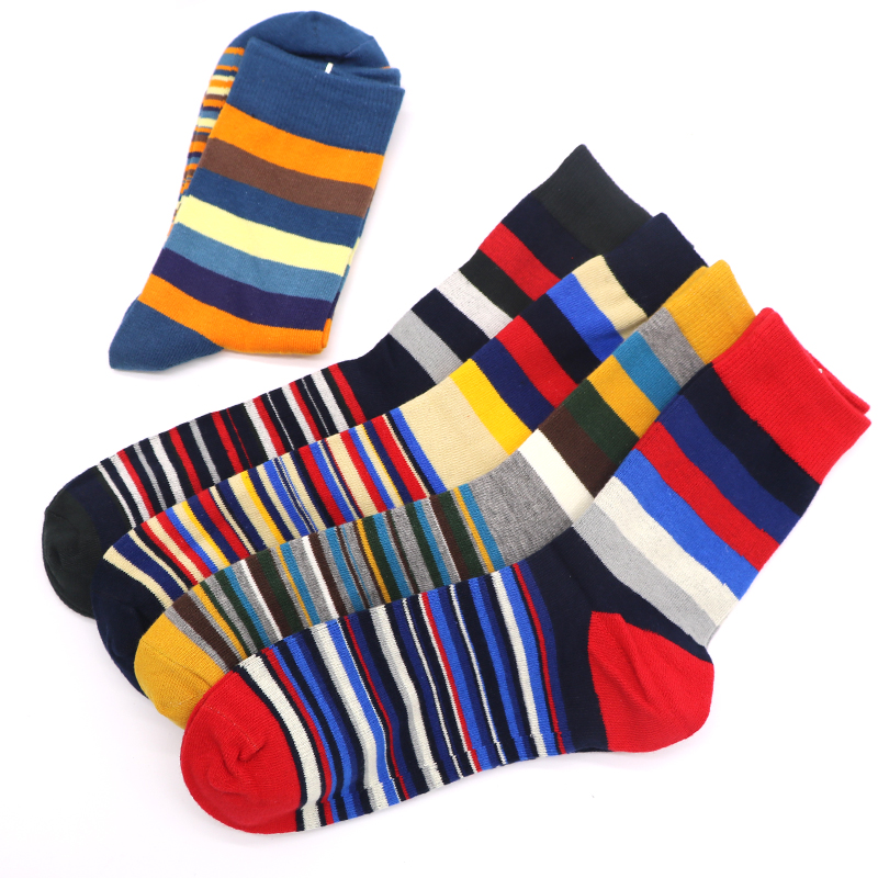 3Pairs Mens Socks Casual Colorful Striped Calcetines 3D Funny Socks For Men High Quality Hip Hop Socks Art Meias Chaussettes