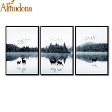 ФОТО almudena canvas wall art printed poster scandinavian modern minimalist   mood woods elk picture living room triptych decor