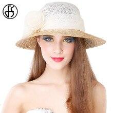 FS verano sombrero de paja de lino para las mujeres 2017 flores de ala  ancha señoras Kentucky Derby Vestidos sombrero c7d30850566