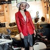 Новые дизайнерские красные туфли из натуральной кожи костюмы куртка Для женщин Натуральная овечья кожа элегантный Повседневное тонкий Офи