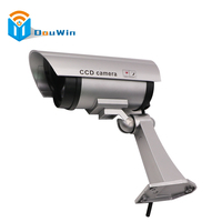 Silver Color Dummy Imitation CCTV Security Camera Security Outdoor Indoor Fake With Blinking Flashing Light Bullet