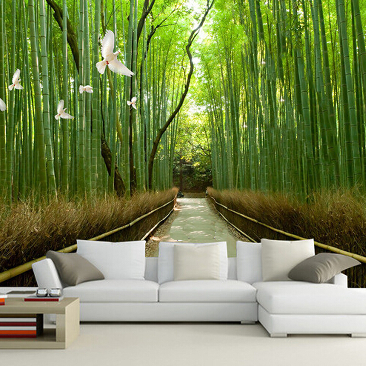 Buy 3d bamboo mural enjoy life and feel for Decoration murale 1 wall