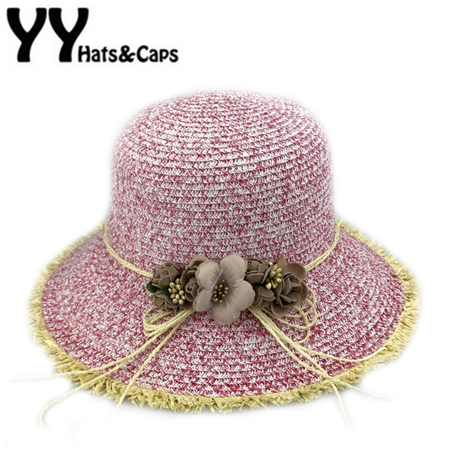 Fashion Beach Hats for Women Summer Straw Cap Flower Sun Visor Hat Girls  Travel Hats Natural 6c08650a1cb