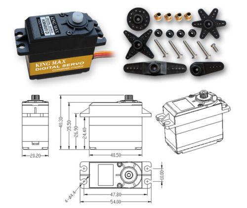KINGMAX KM4805D Digital Plastic Gear Servo Dual Ball Bearing For ALIGN T-Rex 550/600 jx pdi 5521mg 20kg high torque metal gear digital servo for rc model