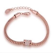 Brabd Name 18k Rose Gold Bracelet Geometric Czech Drill Top Quality Bangle For Women Bar Cz Color Jewelry