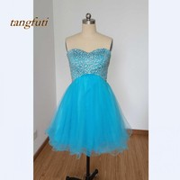 2018 Cheap Cocktail Dresses Short New With Sequin Beaded Tulle Cocktail Party Hot Sale Sexy Mini Prom Party Gowns Real Picture